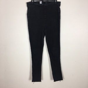 Free People Black High Rise Pull On Skinny Jeans